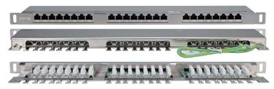 Патч-панель высокой плотности 19'', 0.5U, 24 порта RJ-45, категория 5E, Dual IDC, экранированная