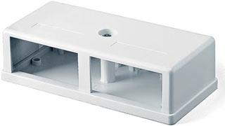 Корпус настенной розетки для 2 вставок, 25x50 мм на узкой стороне, белый