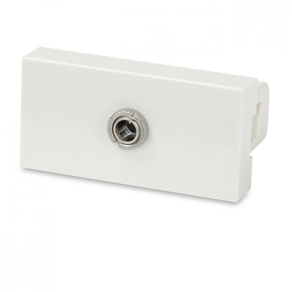 Модуль розетки с разъемом Jack 3.5 мм (earphone), 1М, 45x22.5мм, белый