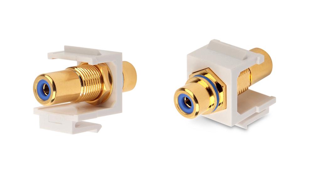 Вставка формата Keystone Jack с проходным адаптером RCA (синий), Hex. type, gold plated, ROHS, белая