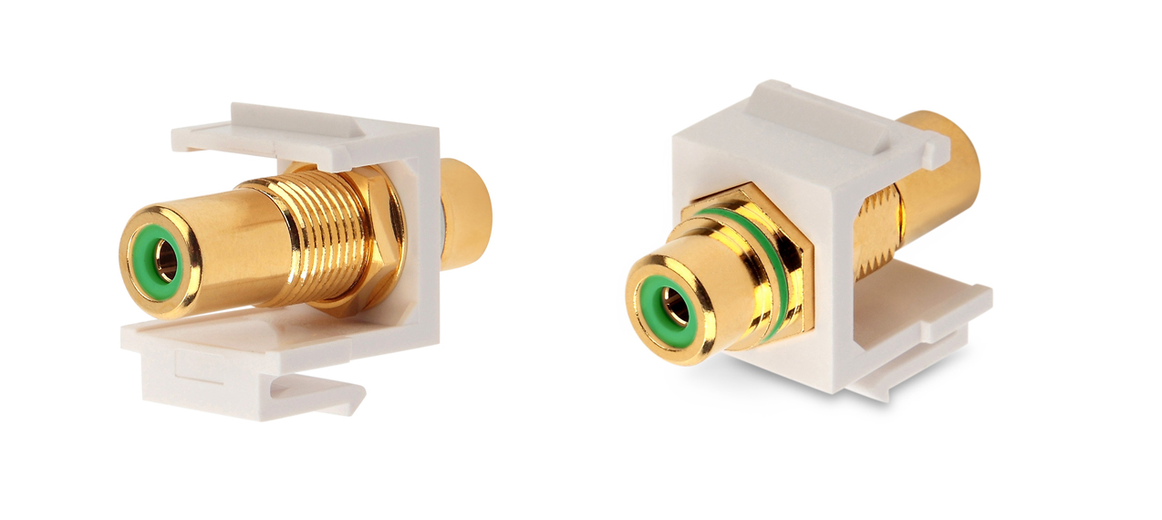 Вставка формата Keystone Jack с проходным адаптером RCA (зеленый), Hex. type, gold plated, ROHS, белая