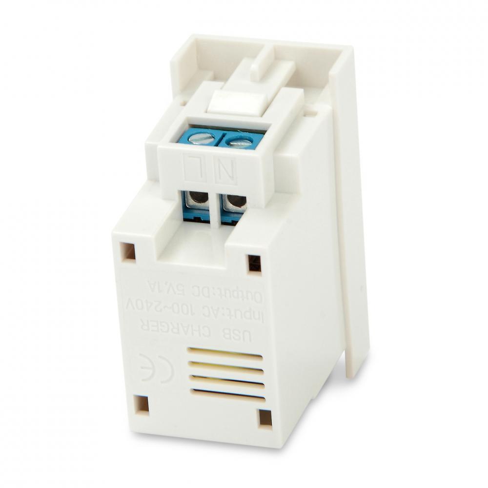 Модуль розетки USB для зарядки, 1 порт, 1М, 1А, 5В, 45x22.5мм, белый
