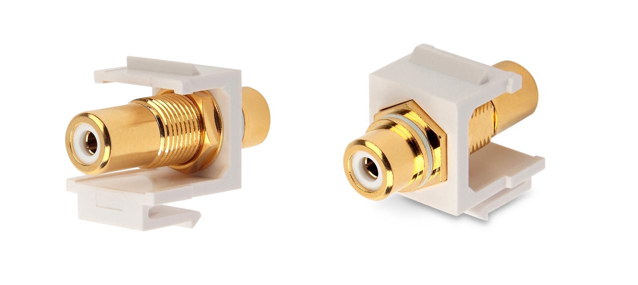 Вставка формата Keystone Jack с проходным адаптером RCA (белый), Hex. type, gold plated, ROHS, белая