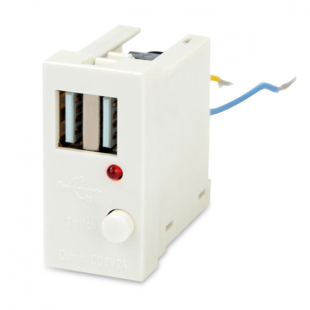 Модуль розетки USB для зарядки, 2 порта, 1М, 2А, 5В, 45x22.5мм, белый