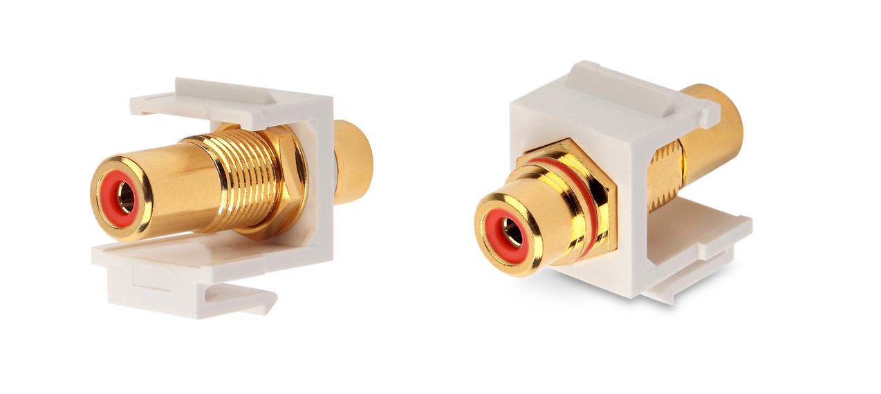 Вставка формата Keystone Jack с проходным адаптером RCA (красный), Hex. type, gold plated, ROHS, белая
