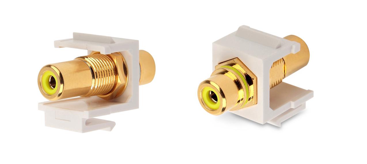 Вставка формата Keystone Jack с проходным адаптером RCA (желтый), Hex. type, gold plated, ROHS, белая