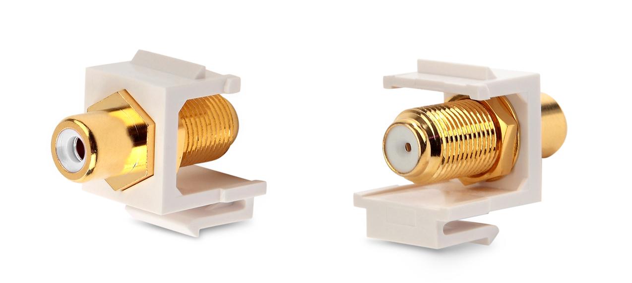 Вставка формата Keystone Jack, F-type / RCA белый (IN/OUT), gold plated, ROHS, белая