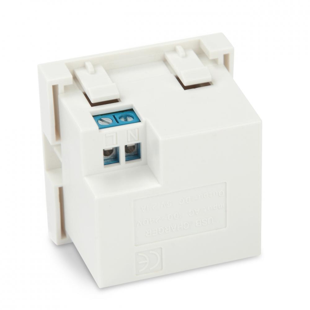 Модуль розетки USB для зарядки, 2 порта, 2М, 2.1А, 5В, 45x45мм, белый
