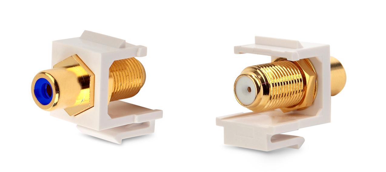 Вставка формата Keystone Jack, F-type / RCA синий (IN/OUT), gold plated, ROHS, белая