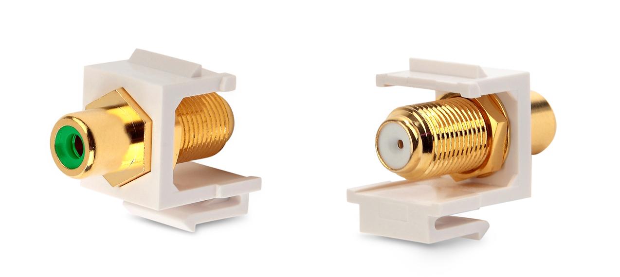 Вставка формата Keystone Jack, F-type / RCA зеленый (IN/OUT), gold plated, ROHS, белая
