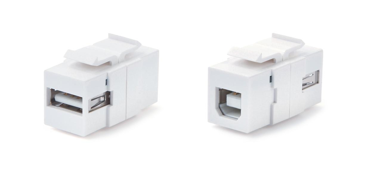 Вставка формата Keystone Jack с проходным адаптером USB 2.0 (Type A-B), ROHS, белая