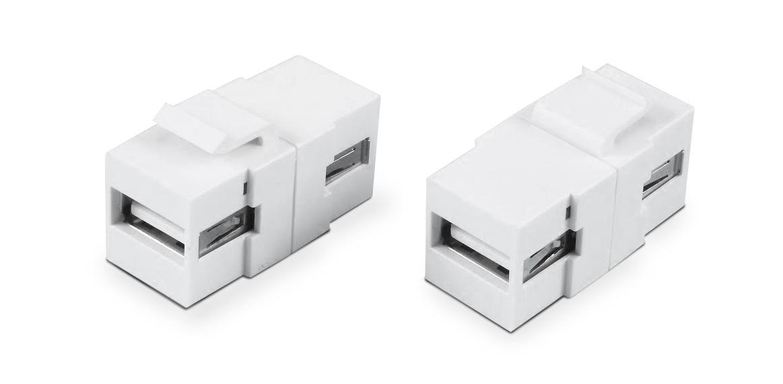 Вставка формата Keystone Jack с проходным адаптером USB 2.0 (Type A)