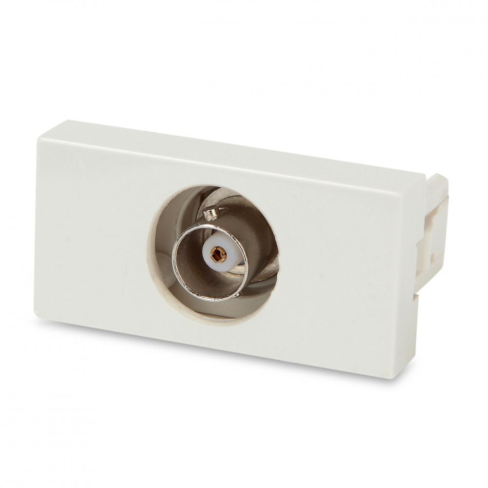 Модуль розетки BNC, 1М, 45x22.5мм, белый