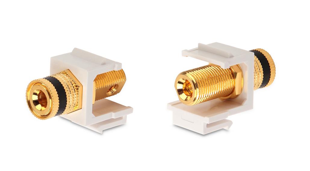 Вставка формата Keystone Jack с коннектором Binding Post (черный), Hex. type, gold plated, ROHS, белая