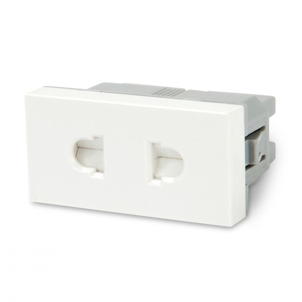 Модуль розетки 2K, европейский / американский стандарт, 1М, 45x22.5мм, белый