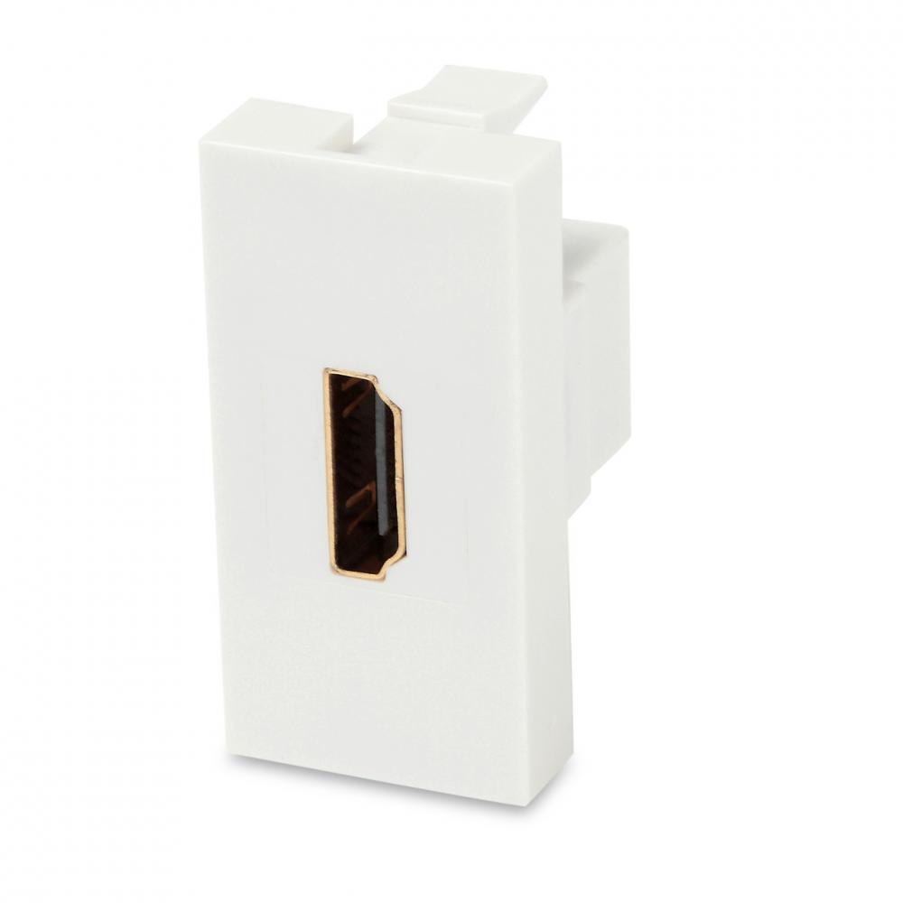 Модуль розетки HDMI, 1М, 45x22.5мм, белый